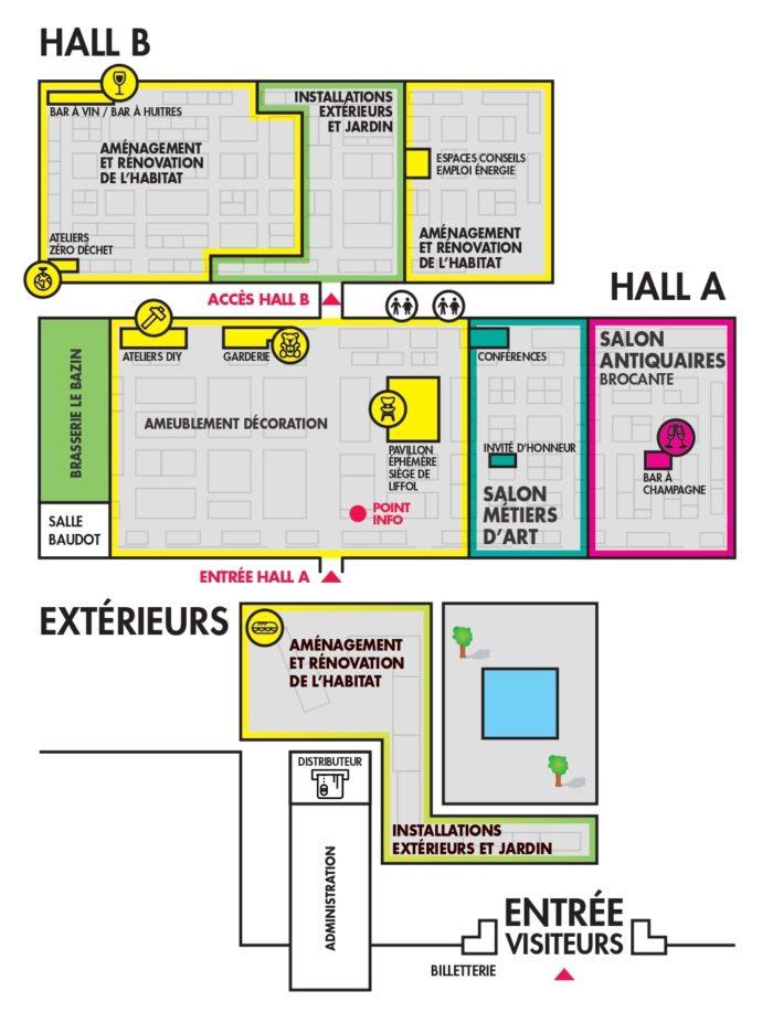Plan du salon Habitat Déco